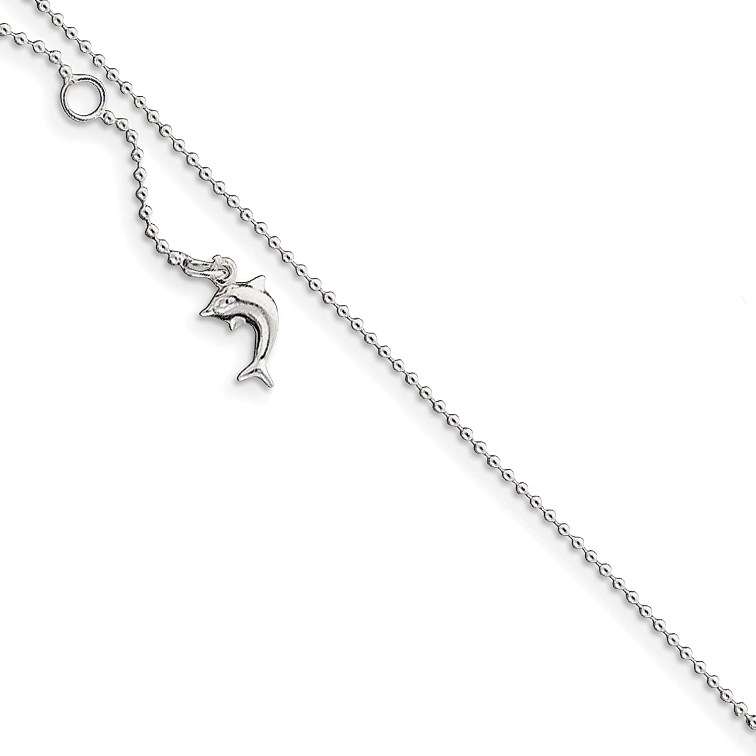 925 Sterling Silver Dolphin Anklet 10inch Fine Jewelry Ideal Gifts For Women