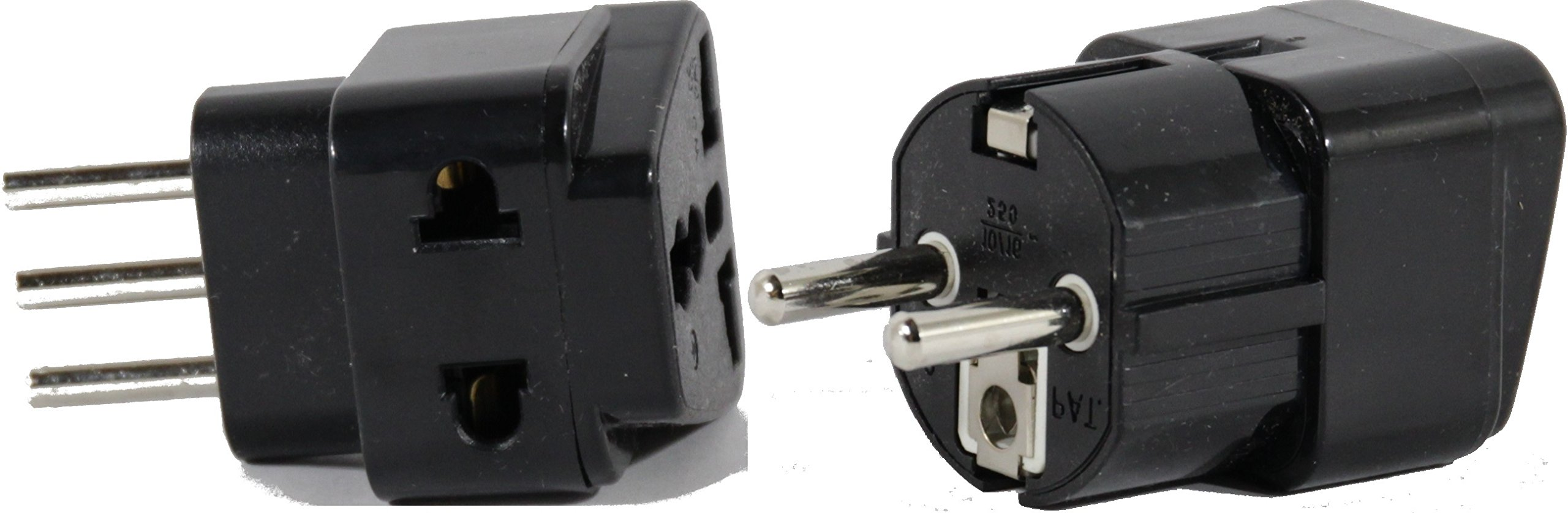 High Quality US to ITALY Travel Adapter Plug for USA/Universal to EUROPE Type E (C/F) & L AC Power Plugs Pack of 2 by Plug in Solutions