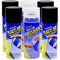 $45 » Plasti Dip Rim Kit: 4 Aerosol Cans Black, 2 Aerosol Cans Glossifier. Air Dries, Easy to Apply and…