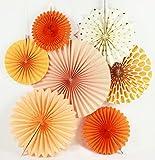 SUNBEAUTY オレンジ系 7点セット 北欧風 扇子の組み合わせ クリスマスパーティー 結婚式 バースデー お部屋の飾りつけ  ペーパーデコレーション
