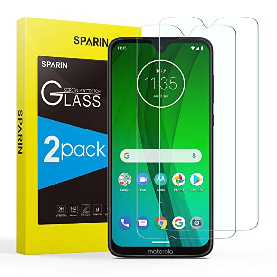 SPARIN [2 Pack Compatible with Moto G7/G7 Plus Screen Protector,Tempered  Glass Screen Protector for Moto G7/G7 Plus with [Bubble Easy Installation]