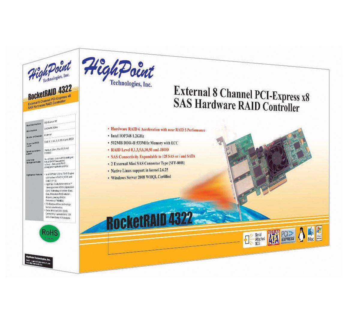 Highpoint Rocketraid 4322 8 Channel Pci Express X8 Sas Raid Jbod Wiring Diagram Controller Electronics