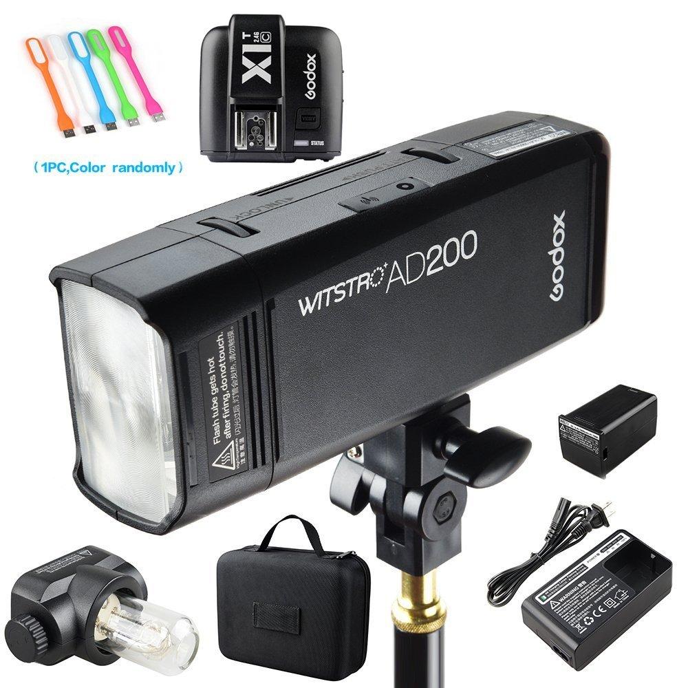 Godox AD200 200Ws 2.4G TTL Flash Strobe Speedlite 1/8000s HSS 2900mAh Battery with X1T-C Wireless Flash Transmitter for Canon DSLR Camera