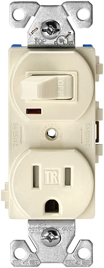 EATON Wiring TR274LA 3-Wire Receptacle Combo Single-Pole Switch with on