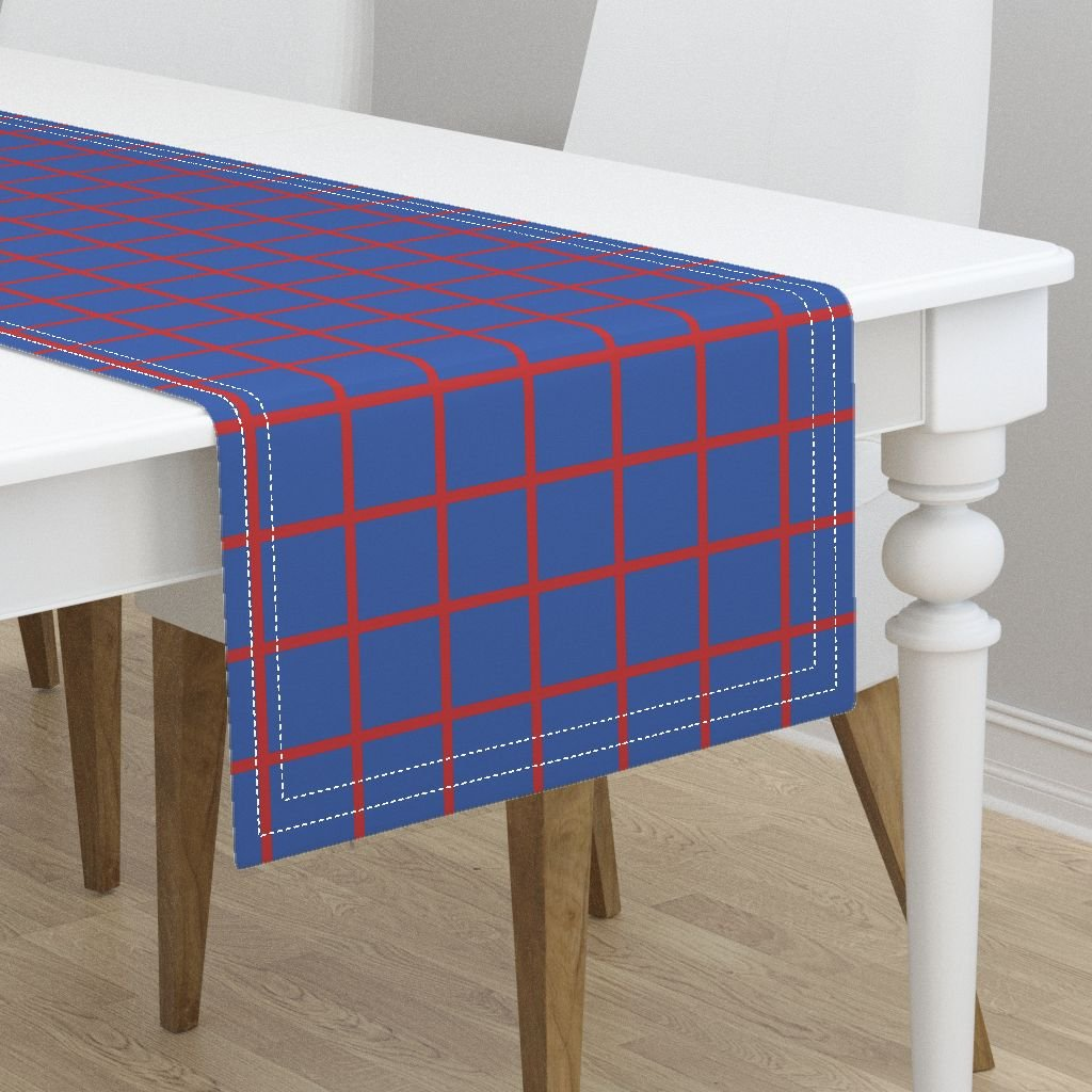 Table Runner - Nelson Richelieu Red Blue Check Plaid Windowpane by Peacoquettedesigns - Cotton Sateen Table Runner 16 x 90