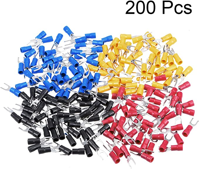 1000 Piece uxcell a13062700ux0468 Pre Insulated Fork Terminals SV1.25-4S for AWG 22-16 Wire and 8 Stud Red