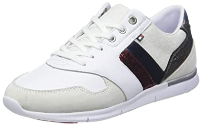 12fefd70bb7 Tommy Hilfiger Women's Leather Light Low-Top Sneakers, White (RWB 020),