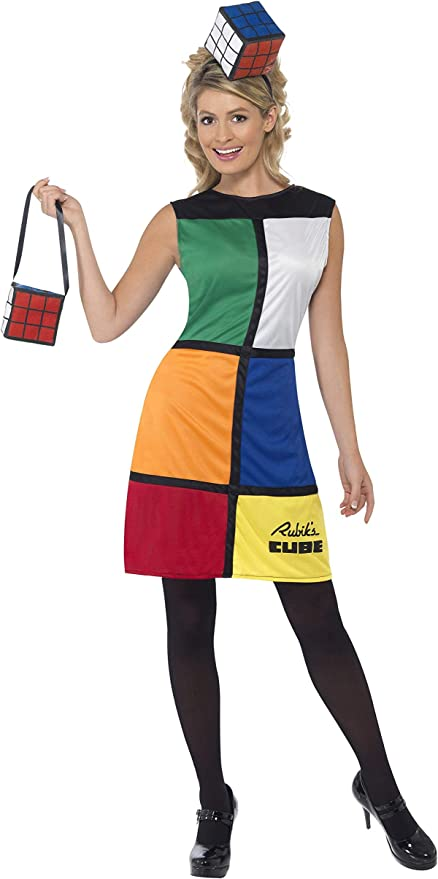 60s Costumes: Hippie, Go Go Dancer, Flower Child, Mod Style Smiffys Womens Rubiks Cube Costume Dress Headband & Bag Size: M Color: Multi 38791 £20.31 AT vintagedancer.com
