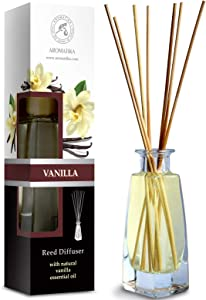 Reed Diffuser with Natural Essential Oil Vanilla 3.4oz (100ml) - Scented Reed Diffuser - Non Alcohol - Gift Set with Bamboo Sticks - Best for Aromatherapy - SPA - Home - Office - Fitness Club