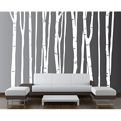 "Innovative Stencils Large Wall Birch Tree Decal Forest Kids Vinyl Sticker Removable (9 Trees) 108"" (9 Feet) Tall #1109: Home Improvement"