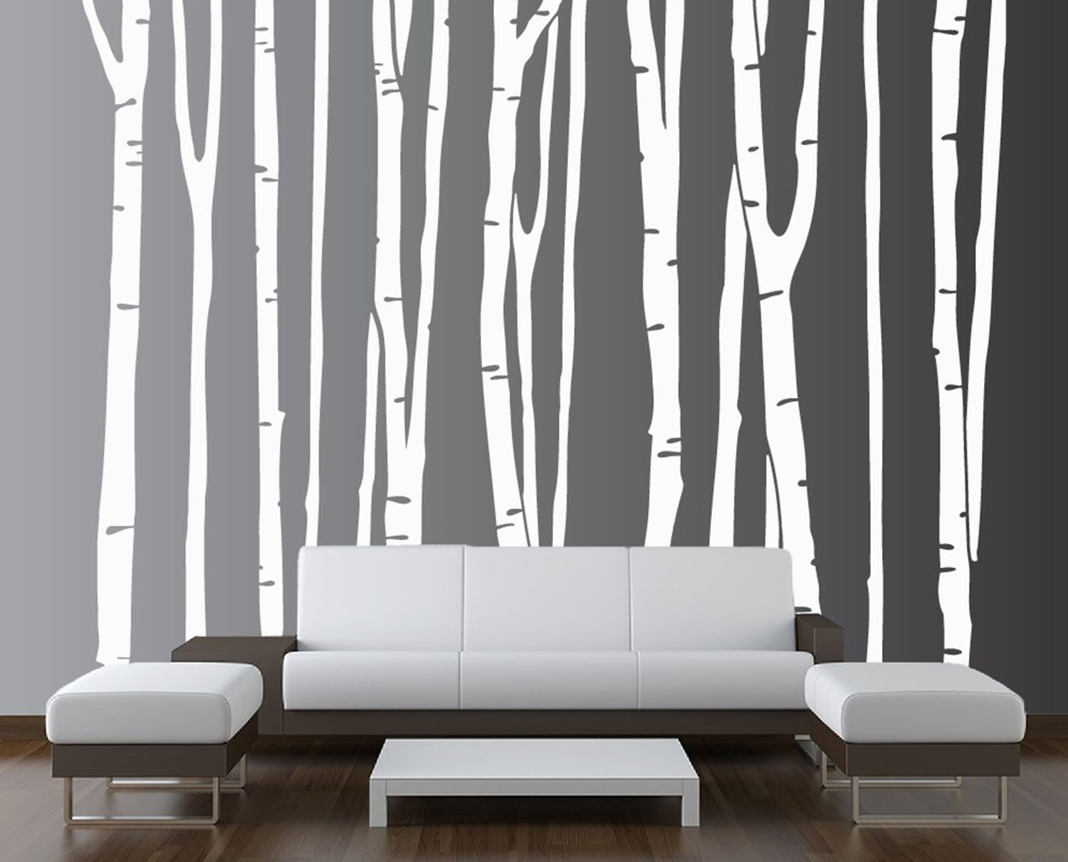 Design Tree Wall Decals innovative stencils 1109 96 white large wall birch tree decal forest kids vinyl removable sticker 9 trees amazon com