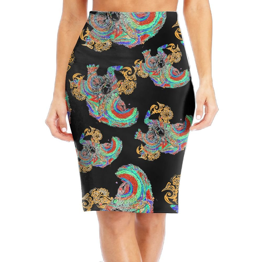 Squirrel With Glass Women Slim Pencil Skirts Waist Print Long Skirts Skirts