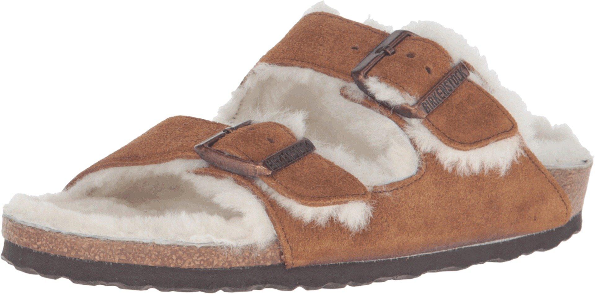 Birkenstock Women's Arizona Shearling Sandal Mink-Natural Suede/Shearling Size 38 M EU by Birkenstock