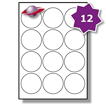 picture relating to Circle Printable Labels known as 12 For each Webpage/Sheet, 5 Sheets (60 Spherical Sticky Labels), Label Planet® White Blank Matt Self-Adhesive A4 Round Circle Price tag Pricing Stickers,