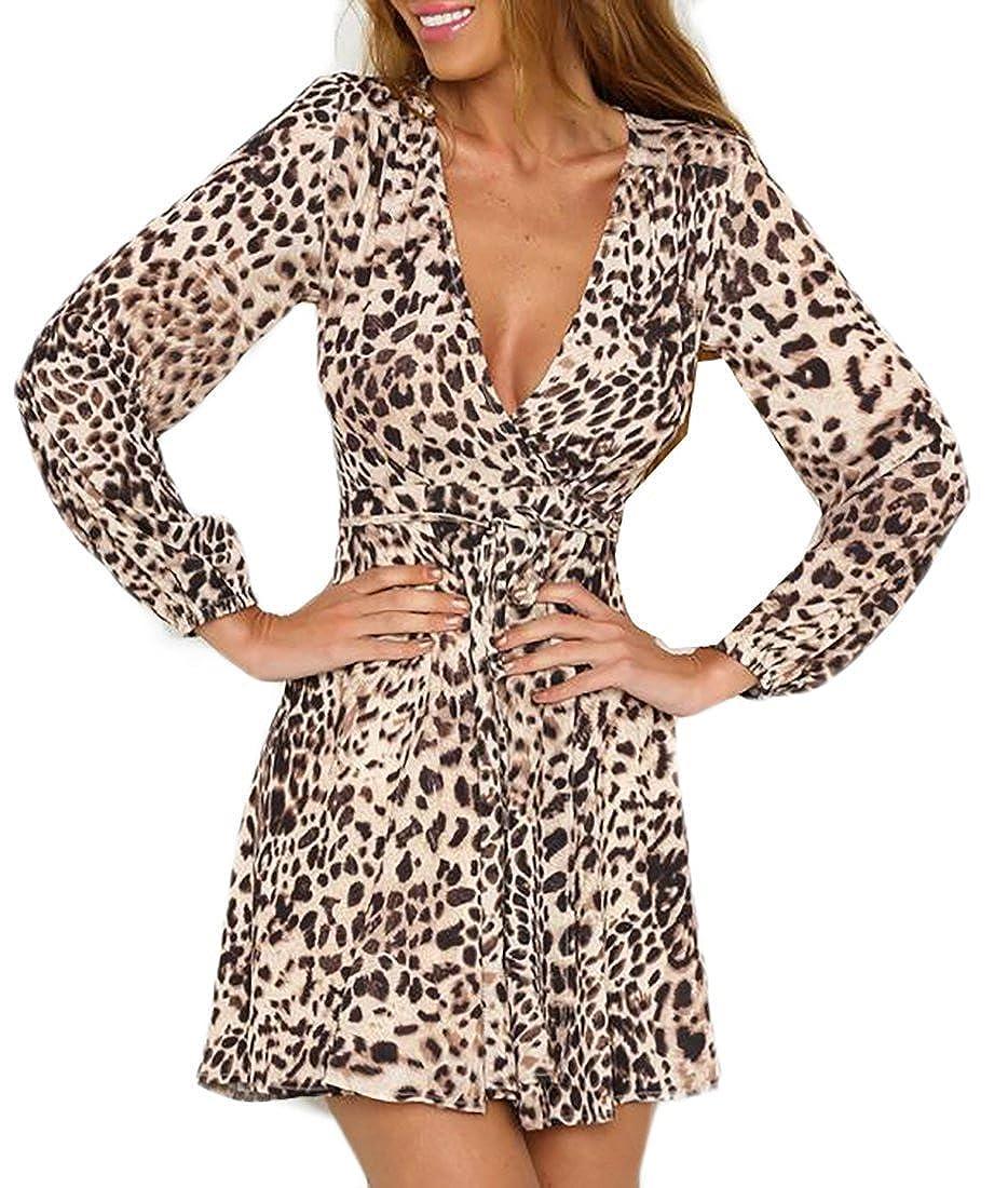 Unique Deep V Neck Wrap Leopard Print Drawstring Long Sleeve Club Mini Dress Womens