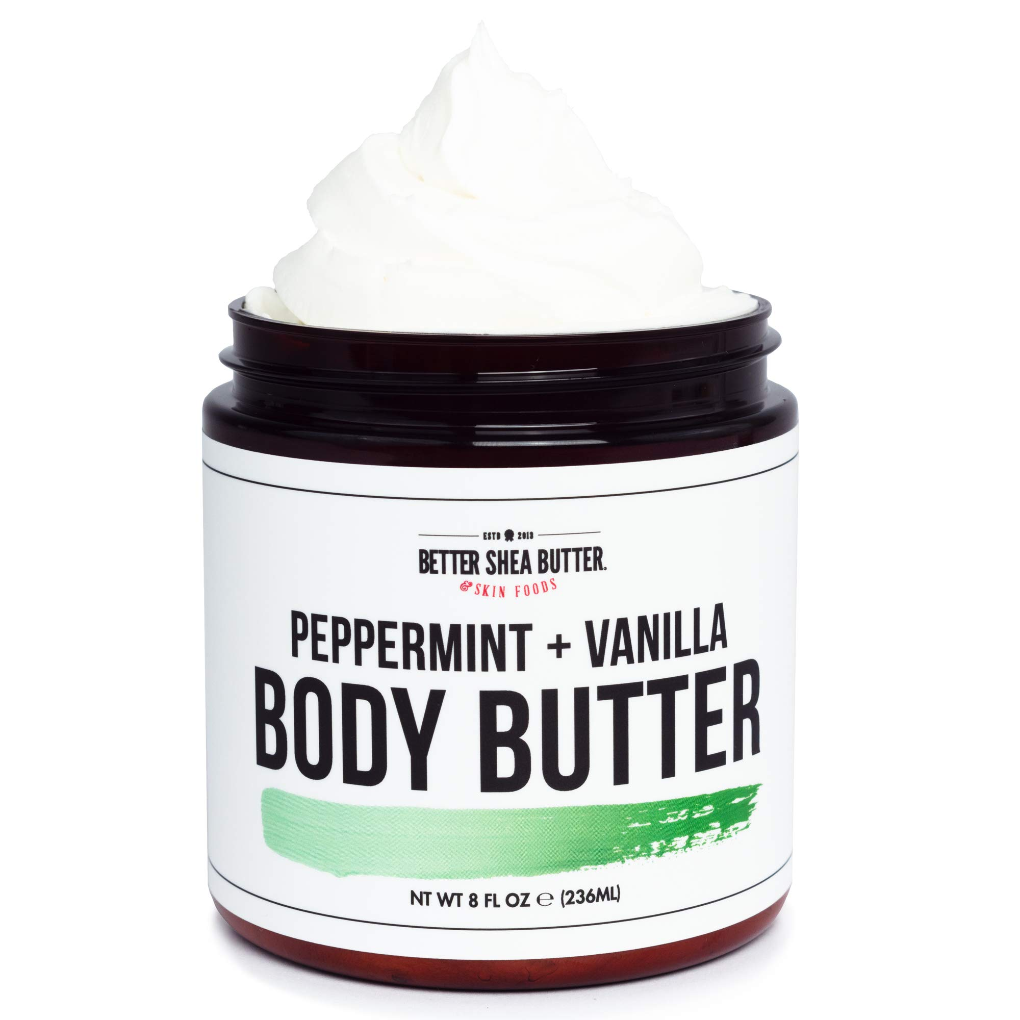 Whipped Body Butter for Dry Skin - PEPPERMINT & VANILLA - Intense 24-Hour Hydrating Cream, Loaded with Shea Butter and Scented with Pure Essential Oils - Paraben Free, Non Greasy - 8 oz by Better Shea Butter