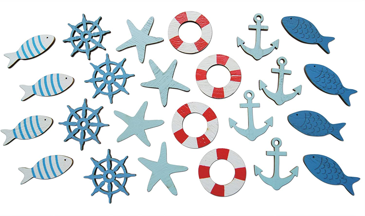18 Wooden Seaside Embellishments for Adults Crafts