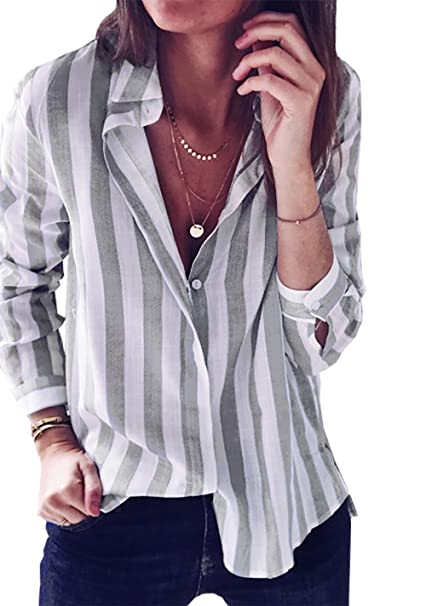 6345c849 BTFBM Women Casual Striped Long Sleeve Button Down Loose T-Shirt Top Shirt  Blouse (Grey, X-Large) at Amazon Women's Clothing store: