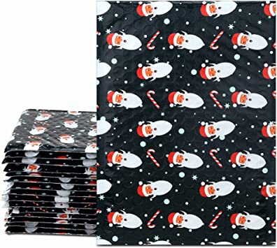 Fu Global #0 6x10 Inches Christmas Poly Bubble Mailers Designer Boutique Custom Padded Envelopes High-Grade Pearlescent Red and White Striped Pack of 25