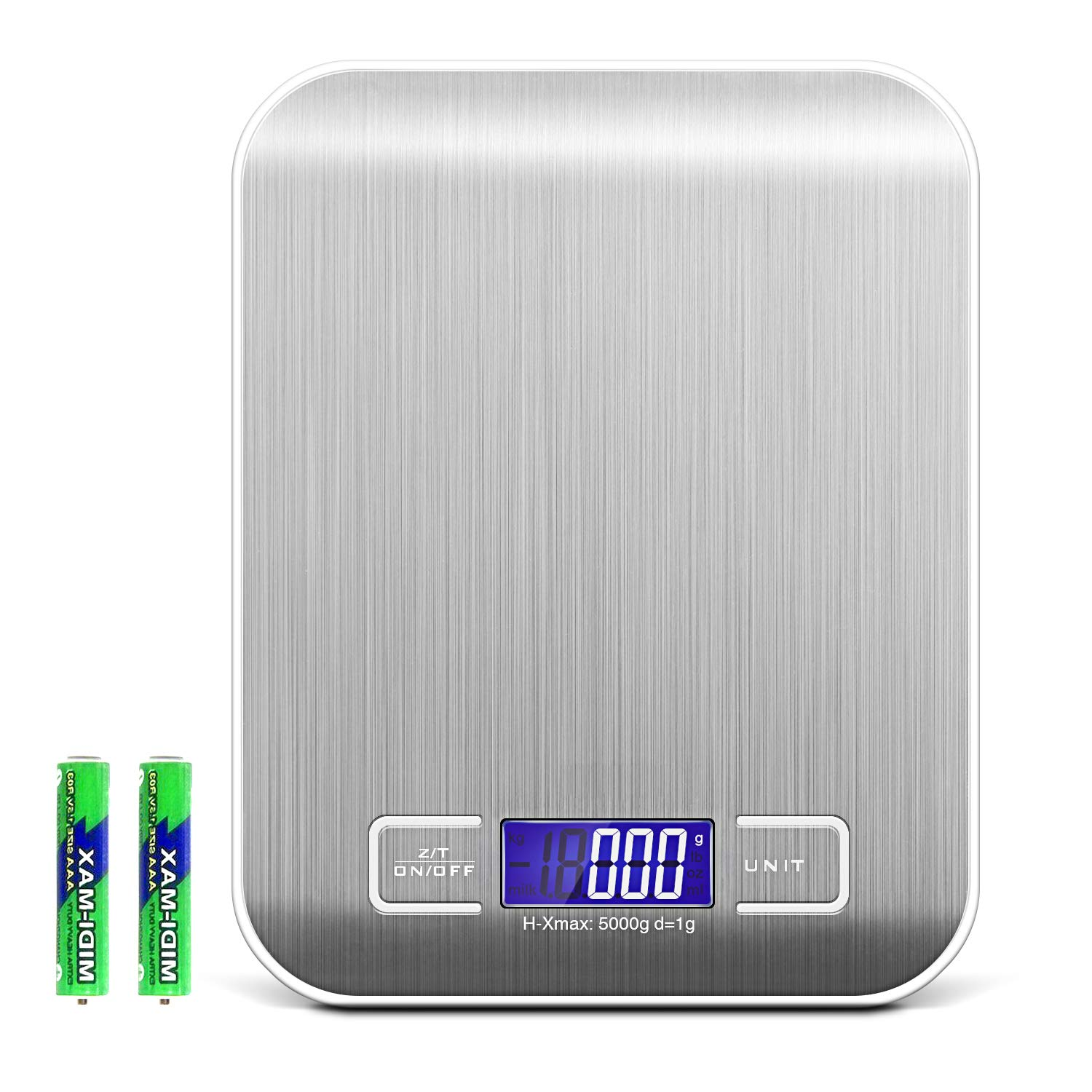 Criacr Digital Kitchen Scale, (5kg/11lb) Food Scale, Electronic Cooking Food Scale, Accurate, Silver Amir UK-KA7