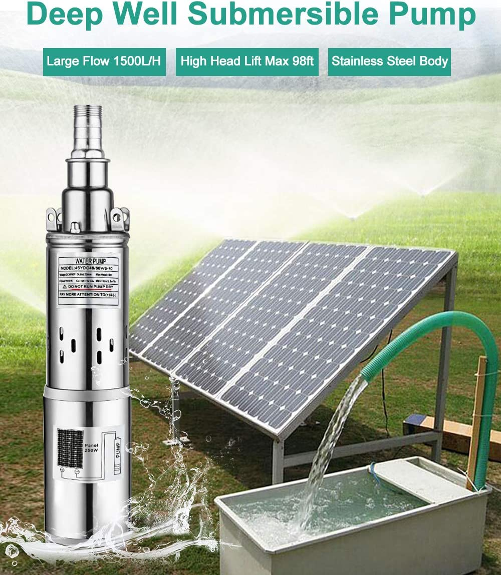 16ft Solar Cable for Watering 100W Solar Panel Irrigation ECO-WORTHY 12V DC Large Flow Solar Water Pump Fountain Remote Watering