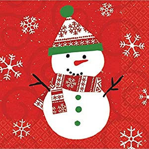 Snowman Beverage Disposable Napkins, 30 Ct. | Party Tableware