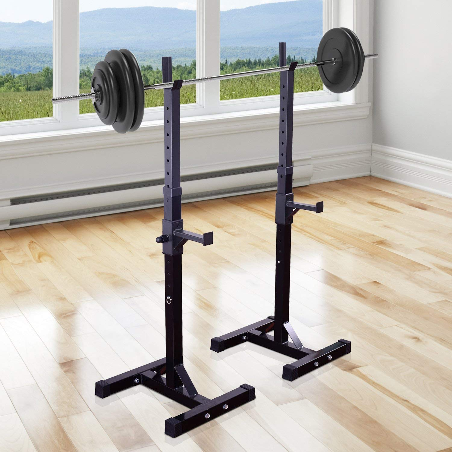 Blackpoolal Heavy Duty Weights Bar Barbell Squat Stand,Stands Barbell Rack Spotter Gym Fitness Power Rack Holder Bench