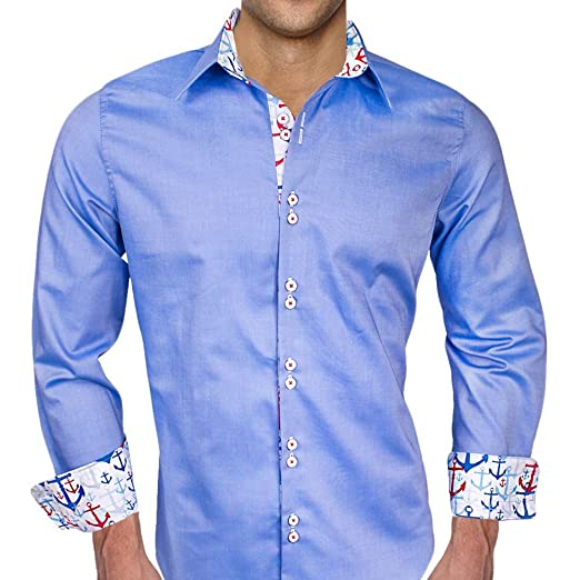 Blue Oxford With Anchors Designer Dress Shirts Made In Usa At