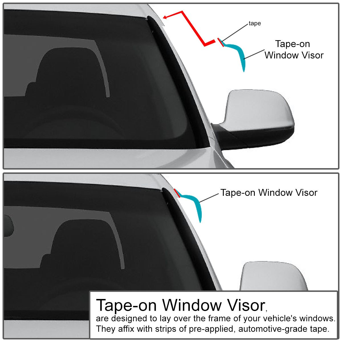 4pcs, Dark Smoke DNA MOTORING WVS-T2-0183 Window Vent Visor Deflector Rain Guard