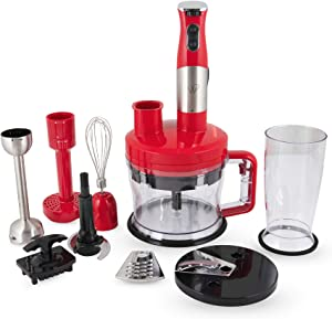 Wolfgang Puck 7-in-1 Immersion Blender with Food Processor Bowl, Removable Hand Blender Stick, Adjustable Speed Dial, 7 Functions, Dishwasher Safe Parts (Red)