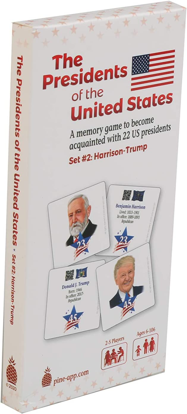 U.S Presidents Card Game Set #2 (Harrison-Trump) - Unique Memory Card Game for the Whole Family - Learn About the Recent 22 American Presidents in an Easy and Fun Way - for History Buffs Ages 6 -106