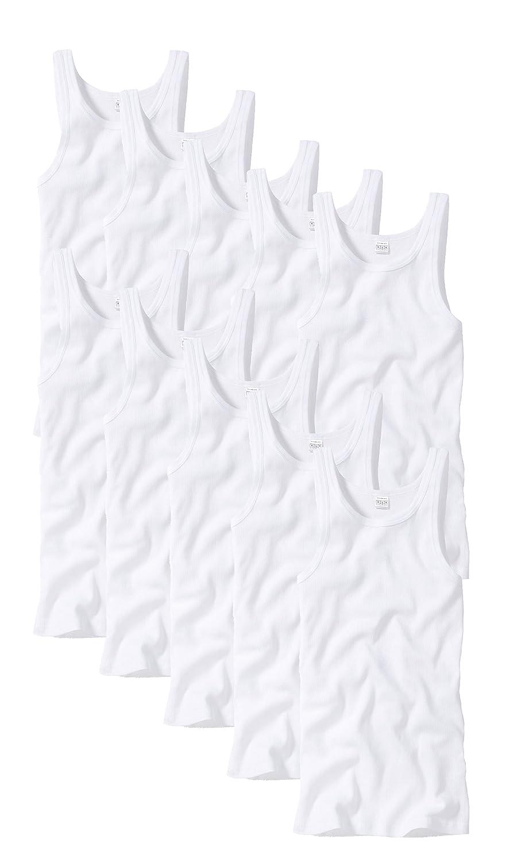 10er Pack Götzburg Herren Unterhemden Sportjacke Doppelripp weiß