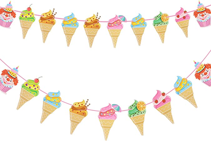 Amazon Com Zilue Ice Cream Banner Diy Paper Garland For Kids Birthday Party Baby Showers Summer Party Decoration 2 Pack Home Kitchen