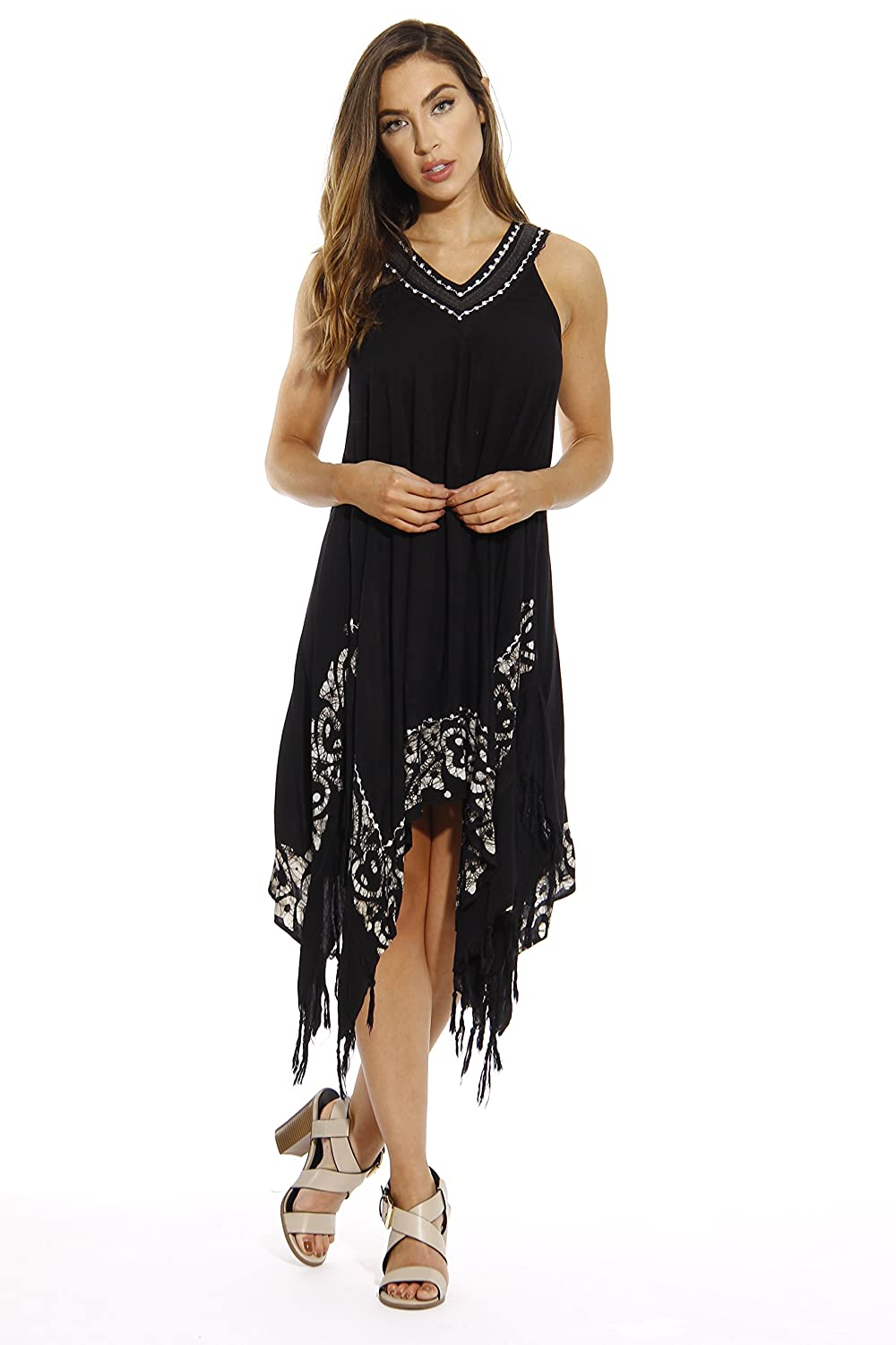 47dd496c260 SWITCH IT UP  You ll love the versatility of these summer casual dresses  with fringes. You can dress them up with wedges for that afternoon lunch