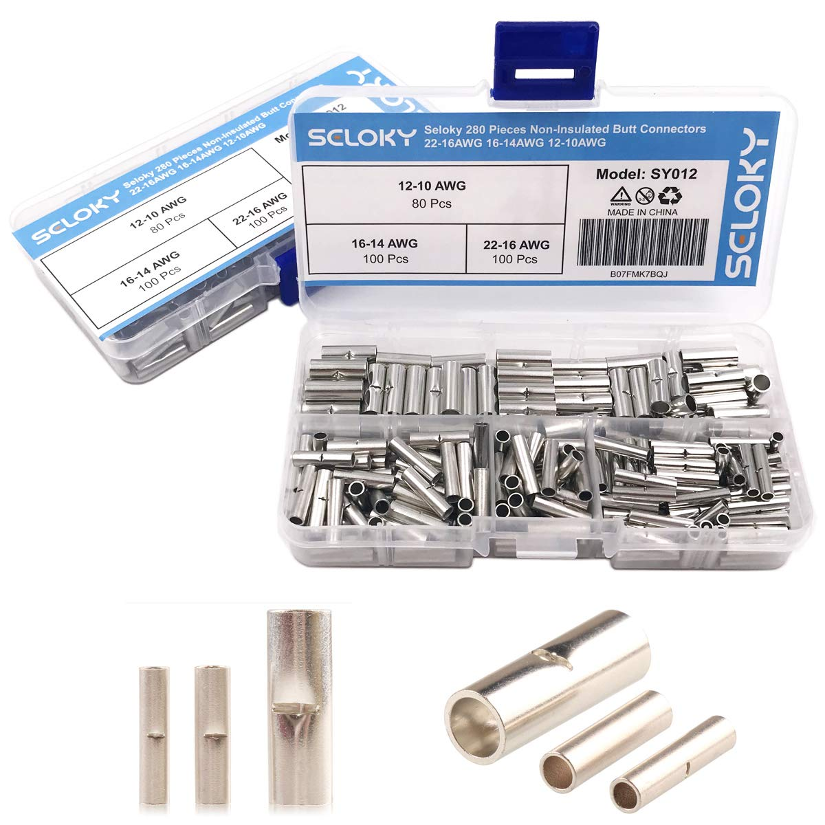 Seloky 280 Pieces Non-Insulated Butt Connectors Non-insulated Wire Ferrule Cable Crimp Terminal Kit for Electrical Splice DIY(22-16AWG 16-14AWG 12-10AWG)