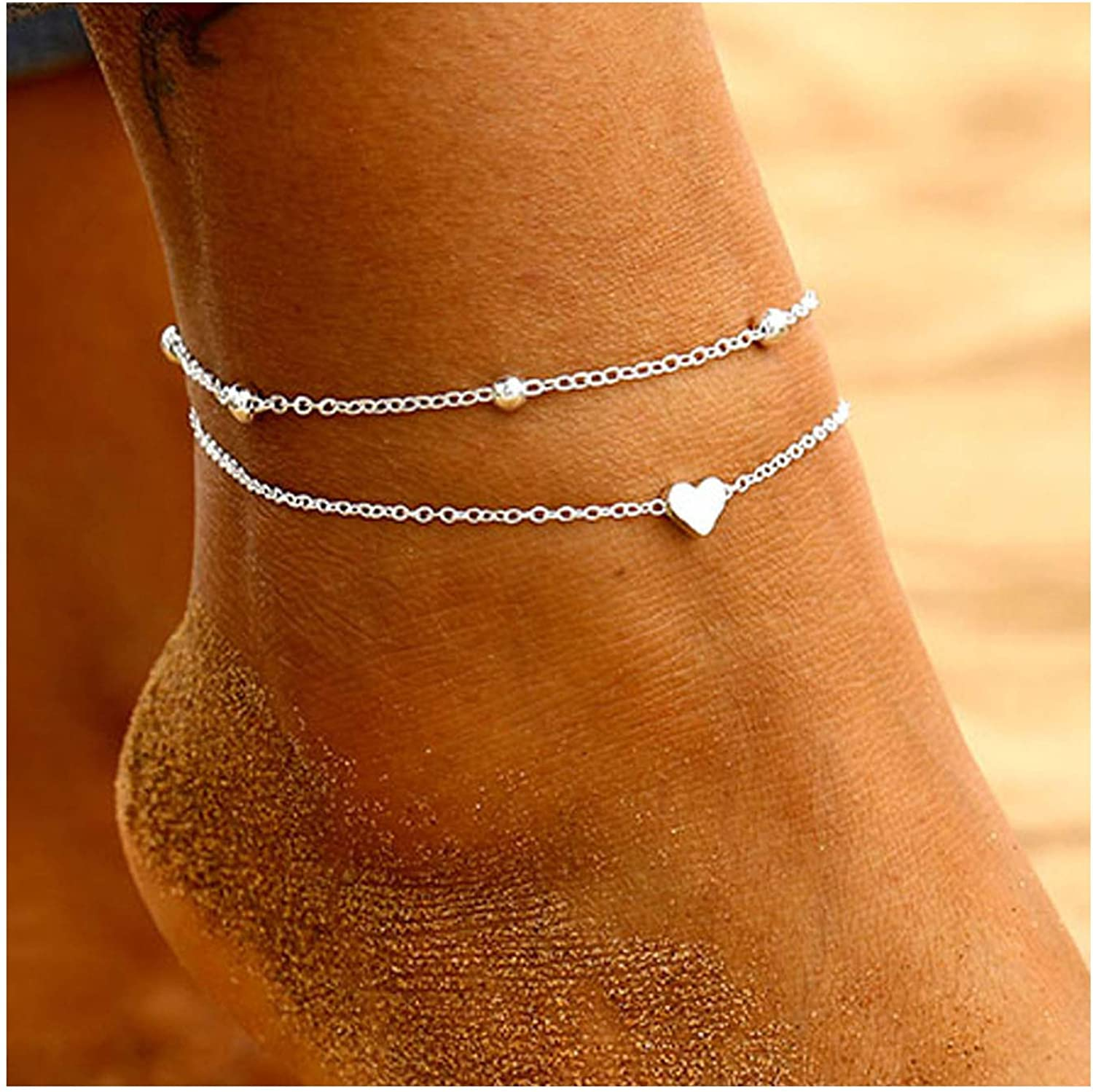 Osemind Beads Heart Anklets Silver Gold Ankle Bracelets for Women Foot Beach Jewelry