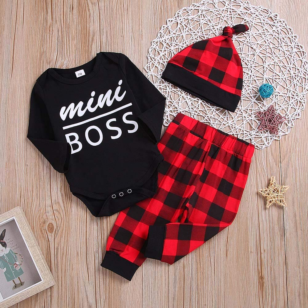Oyedensa Print A Letter Baby Lattice Set of Three Pieces 3PCS Toddler Kids Baby Letter Print Romper+Grid Print Pants+Hat Set Outfit