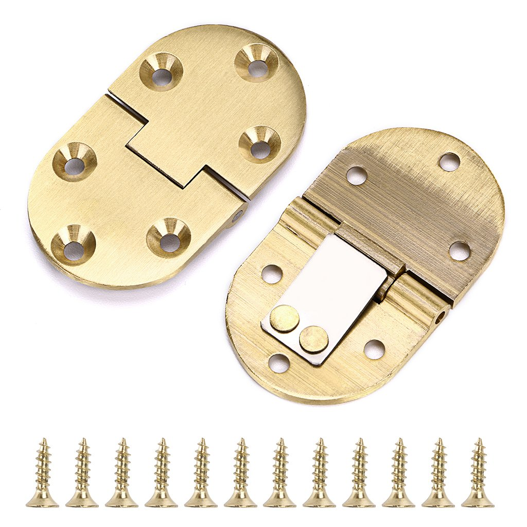 OwnMy 2Pcs 90 Degree Solid Brass Bulter Tray Hinge, Drop Front Desk Drawer Butt Hinge for Table Sewing Machine,Doors and Folding Table 2-1/2''x1-1/2