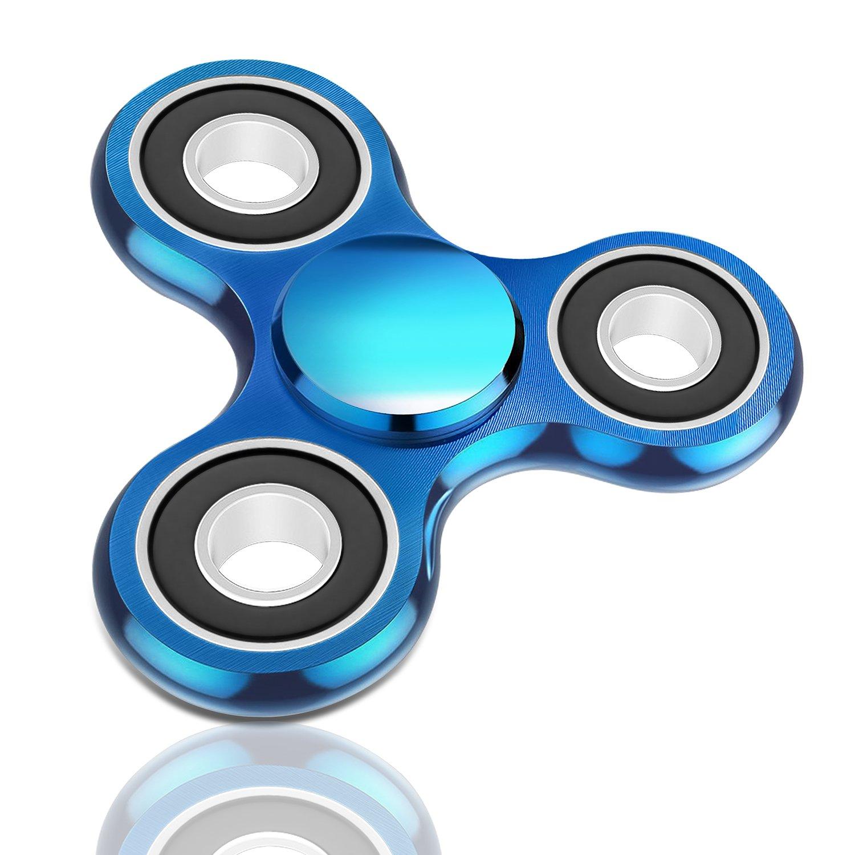 Oriental eLife Fidget Spinner toy, EDC Tri Finger Hand Metallo Dito Della Mano Alluminio Giocattolo per Bambini Adulti, Blu