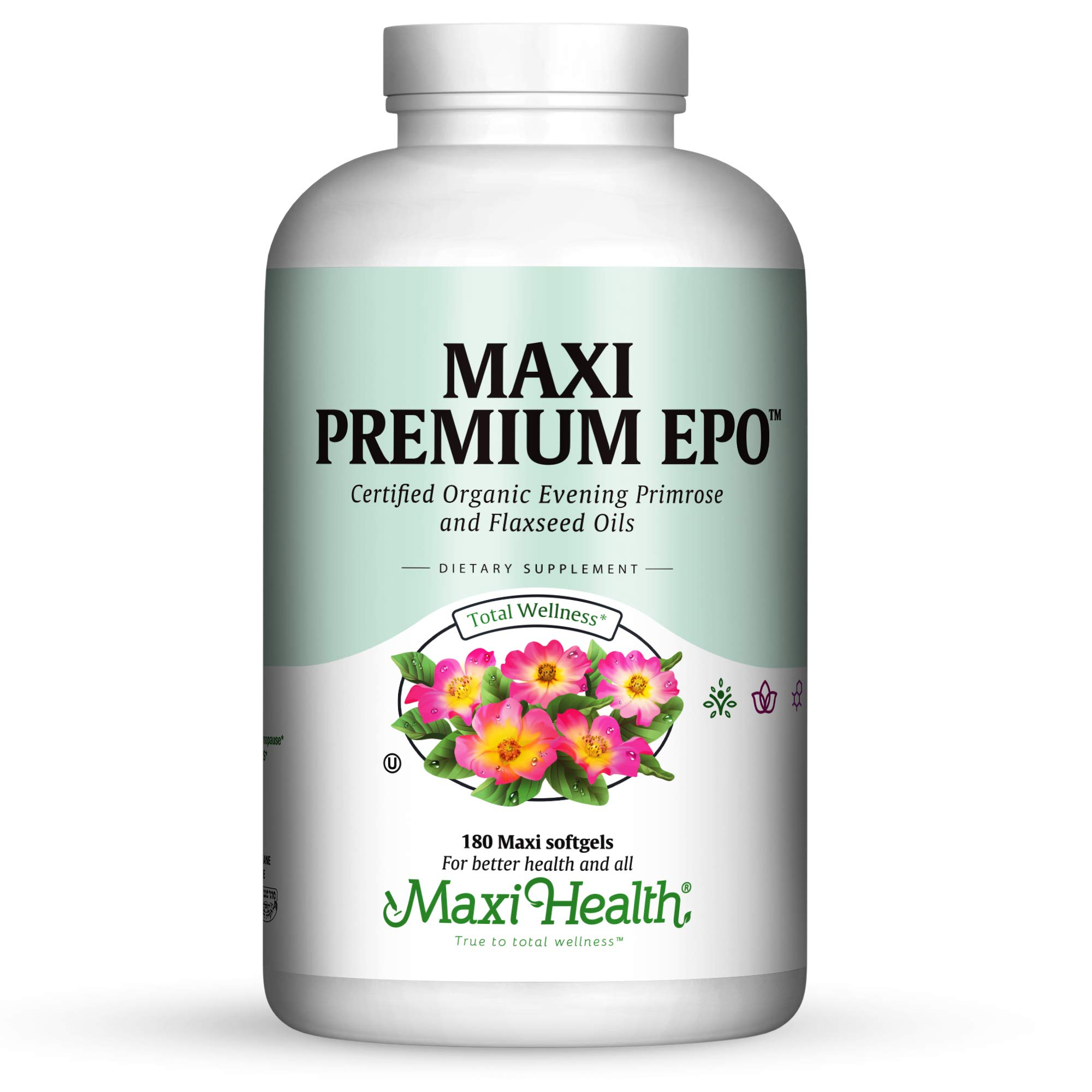 Maxi Health Premium EPO - Evening Primrose with Flax Seed Oil - with Omega-3-90 Softgels - Kosher