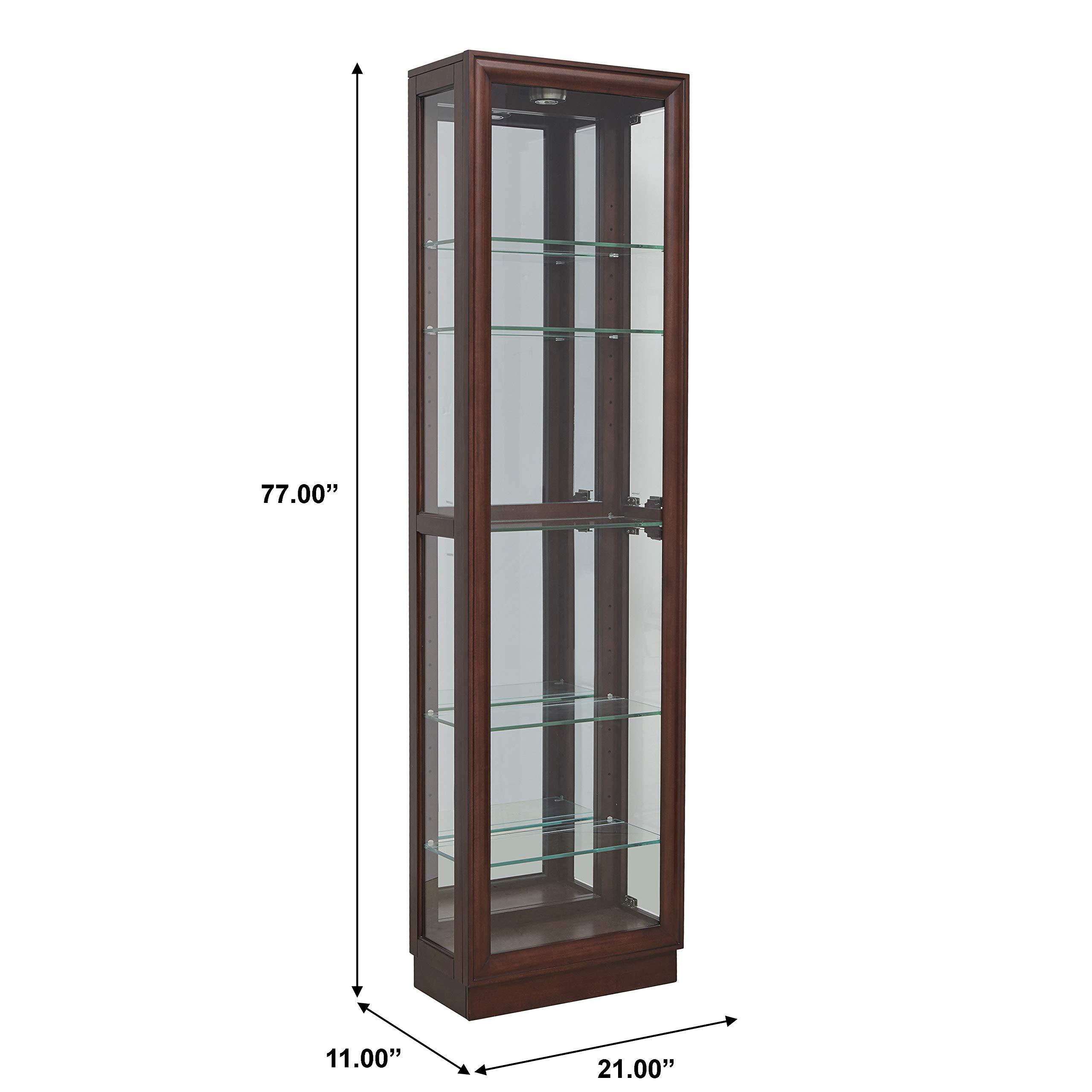 Pulaski  Side Entry Curio Display Cabinet, 21.0'' L x 11.0'' W x 77.0'' H, Cherry by Pulaski (Image #3)
