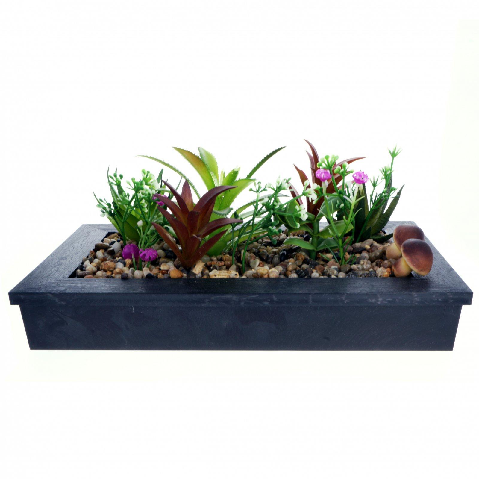 Home Essentials Decor Artificial Plant Succulent Garden in Planter - Black