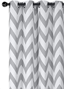 Regal Home Collections Designer Chic Chevron Room Darkening Energy Saving Thermal Grommet Top Curtain Panels With Bonus Tiebacks - Assorted Colors & Sizes (Gray, 84 in. Long Pair)