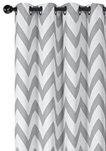Regal Home Collections Designer Chic Chevron Room Darkening Energy Saving Thermal Grommet Top Curtain Panels With Bonus Tiebacks - Assorted Colors & Sizes (Gray, 63 in. Long Pair)
