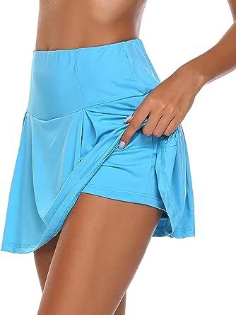 Chigant Women'sAthleticSkortsLightweightPleatedActiveSkirtswithShortsRunningTennisGolfWorkoutSports Blue