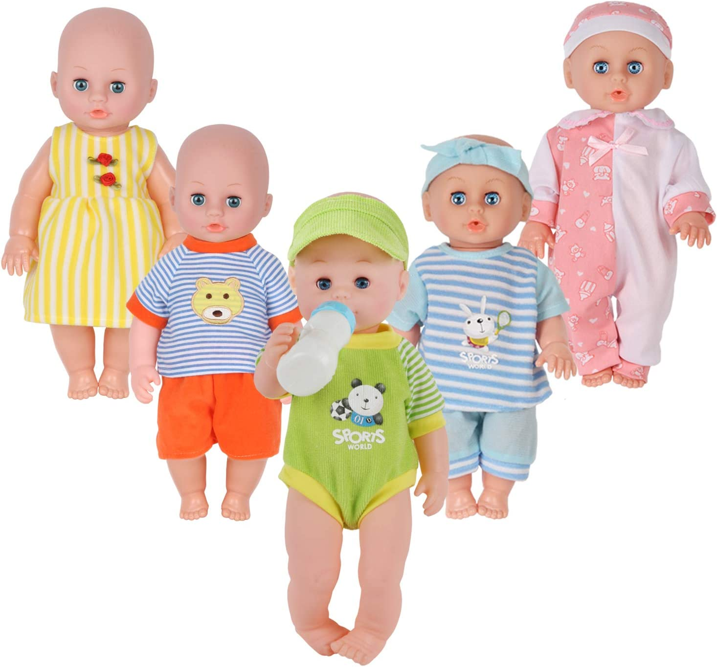 Amazon.com: Set of 5 for 11-12-13-14 Inch Newborn Reborn Alive Doll Baby  Doll Clothes Dress Costumes Gown Outfits with Feeding Bottle Birthday Xmas  Present Wrap: Toys & Games