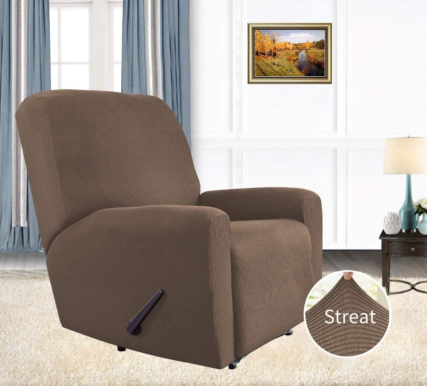Camel Linens And More➤1 Piece Jacquard Recliner Stretch Slipcover Fabric Small ChecksFurniture Protector with Elastic Bottom➤with Side Pocket,Sturdy Fabric Slipcover,Pets,Kids,Children,Dog,Cat ➤