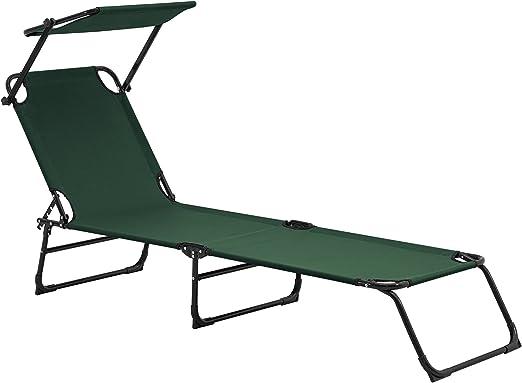 casa.pro] Tumbona plegable 190cm verde oscuro con techo - aluminio - hamaca de playa, para jardín, silla reclinable piscina: Amazon.es: Jardín