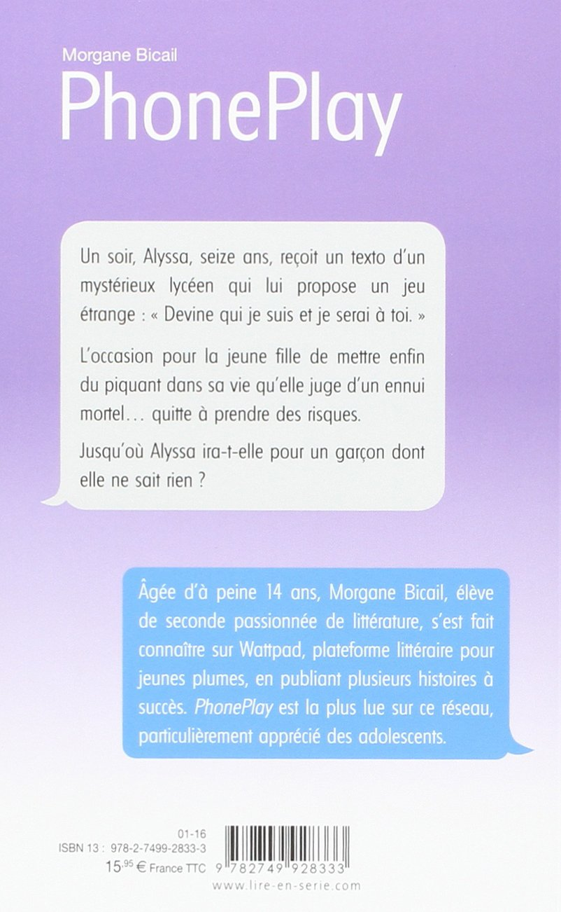 Amazon Fr Phoneplay Tome 1 1 Morgane Bicail Livres