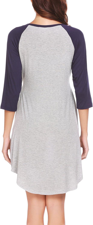 UNibelle Womens Maternity Dress Nursing Nightgown for Breastfeeding Nightshirt Sleepwear S-XL